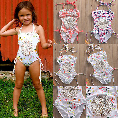 AU 0-5T Baby Girls Bow Splice Bikini Set Swimwear Swimsuit Bathing Suit Swimming
