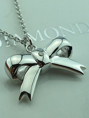 Hot Diamonds Sterling Silver Diamond Ribbon Bow  pendant / necklace  £79.95