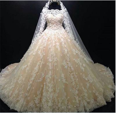 HOT Luxury Ball Gown Wedding Dresses Lace Appliques Bridal Gowns Custom Size