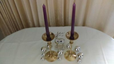 Pair solid brass candle stick holders. Decorate yr table at x-mas