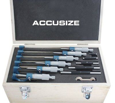 AccusizeTools - 0-150mm Precision M-Type METRIC Outside Micrometer 6 Pcs/Set,