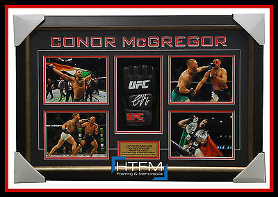 Conor McGregor Signed UFC CHAMPION Glove Box Framed with Photos THE NOTORIOUS
