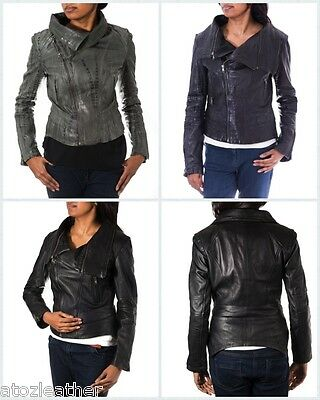 Ladies Black/ Grey Croc Pattern Desigener Large Removable Collar Leather Jacket