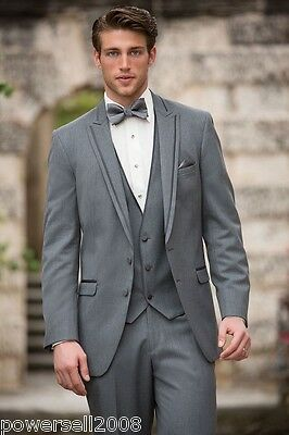 Custom Made Fashion Gray Regular Two Button Broadcloth Groom Wedding Suits !