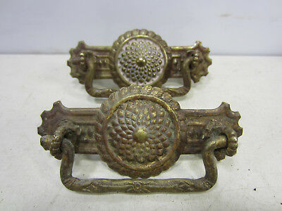 2 Antique Pressed Brass Drawer Pulls- Center Floral Design  #518