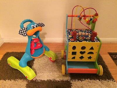 Wooden Toddler Activity Cube And Walker