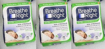 78 Breathe Right Nasal Strips EXTRA CLEAR Sensitive 3 X 26 ct Clear Nose Strips