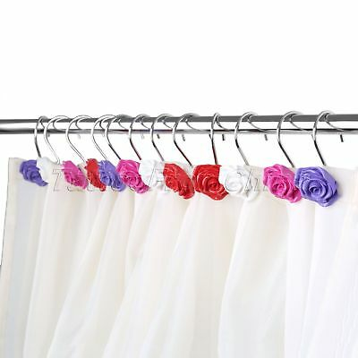 12Pcs Plastic Boxed Set Decorative Resin Flower Rose Floral Curtain Rings Hooks