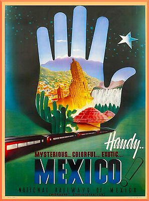 Mysterious Mexico National Railways Mexican Travel Advertisement Poster Print