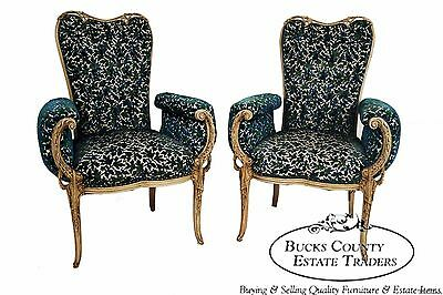 Vintage Hollywood Regency Pair of Paint Frame Rolled Arm Fireside Chairs