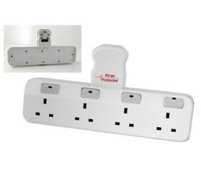 4 Way Gang Surge and Spike Protected Switched Plug In Adapter Socket Extension