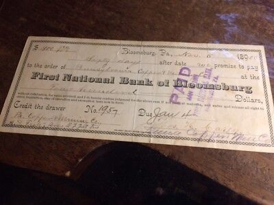 Jamison City PA 1900 Pennsylvania Copper & Mining Co. Cancelled Check Bloomsburg