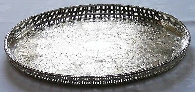 Vintage Viners SILVER PLATED Galleried Tray Oval over Brass 25cm x 39cm