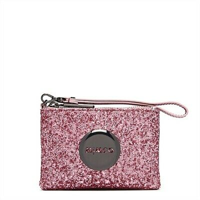 Mimco Tiny Hydrangea Sparks pink Glitter small pouch wallet purse wristlet BNWT