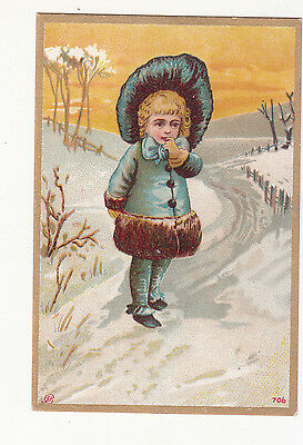 Girl in Blue Fur Trimmed Coat Snow Lane No Advertising Vict Card c1880s
