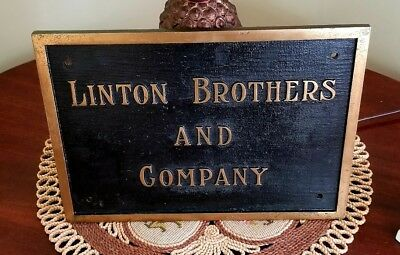 """Early Textile Pawtucket RI Entrance Antique Brass Plaque """"Linton Brothers"""" C1910"""