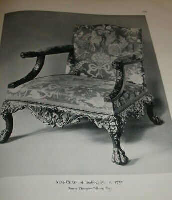 """Antique Mahogany Arm-Chair 1730/Single Page Picture Suitable Framing/12"""" x 8 """""""