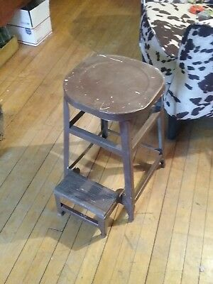 Vintage STEP STOOL chair machine age Industrial metal shop shabby DIFFERENT