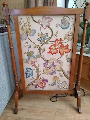 very large embroidered fire screen approx 3ft
