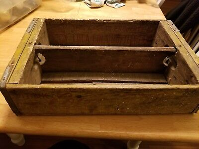 Vintage 1960's Wooden Yellow Coca-Cola Coke Soda Pop Bottle Crate charlseton,sc