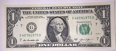 Crisp! $1 UNC Dollar Note Bill BIRTH YEAR - Needs A Forever Home :-) 4678 1970