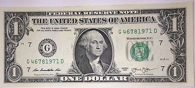Crisp! $1 UNC Dollar Note Bill BIRTH YEAR - Needs A Forever Home :-) 4678 1971
