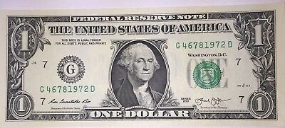 Crisp! $1 UNC Dollar Note Bill BIRTH YEAR - Needs A Forever Home :-) 4678 1972