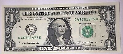 Crisp! $1 UNC Dollar Note Bill BIRTH YEAR - Needs A Forever Home :-) 4678 1975