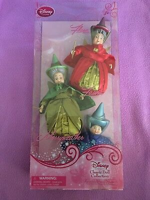 "NEW~Disney Sleeping Beauty Fairy Godmothers Flora Fauna Merryweather 6.5"" Dolls"