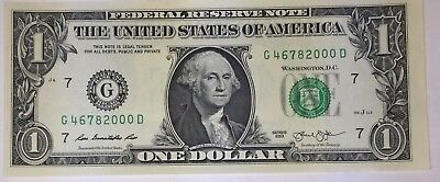Crisp! $1 UNC Dollar Note Bill BIRTH YEAR - Needs A Forever Home :-) 4678 2000