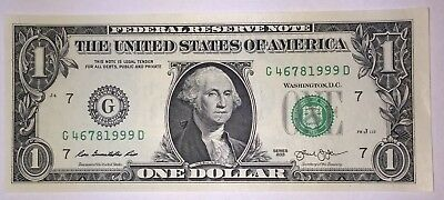 Crisp! $1 UNC Dollar Note Bill BIRTH YEAR - Needs A Forever Home :-) 4678 1999