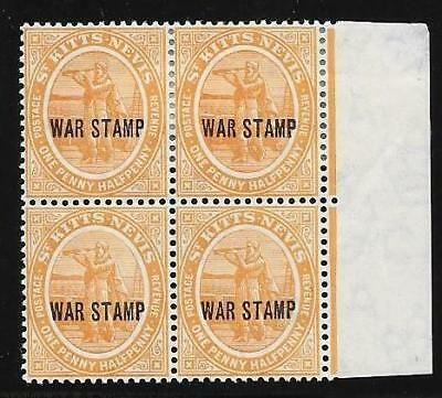 St. Kitts - Nevis War Stamp Block Of 4.  Mint  Hinged.