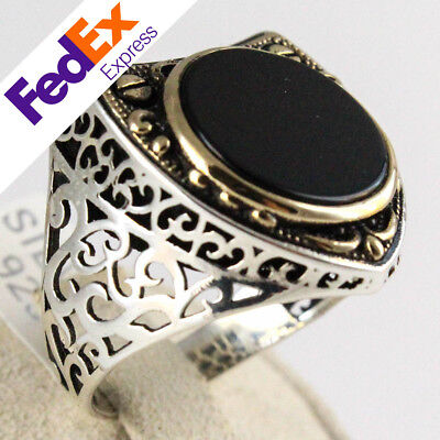 Luxury Turkish Handmade Ottoman 925 Sterling Silver Onyx Men Ring All Sizes