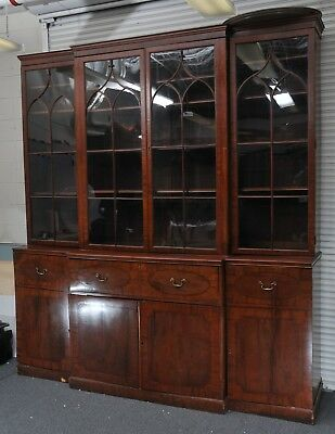 1820's 4 PIECE FEDERAL CHINA CABINET BREAKFRONT with WAVY GLASS & HIDDEN DESK