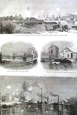 Civil War Capture Plymouth Nc Grant City Point Map Christmas Story 1864 Harpers