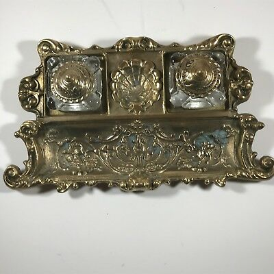 Antique Ornate Solid Brass Double Glass Inkwell Art Nouveau