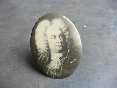 1890s Handel German Music Composer Celluloid Portrait On Pinback Like Stand LOOK