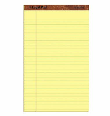 8.5X14 Inch Canary Yellow Wide Rule Writing Legal Pad 12 Pack 50 Sheets Save Top