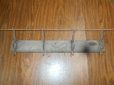 "Antique Oak & Cast Iron Hooks Coat & Hat Rack  24""  No. 2"