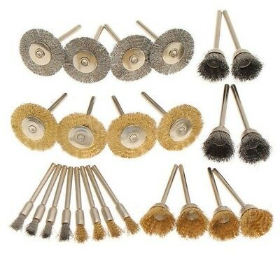 24Pcs Wire Steel Brass Brushes Set Polishing Brush Wheels Dremel Rotary Tool Kit