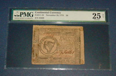 PMG November 29, 1775 CONTINENTAL CURRENCY $8 Eight Dollar VF 25 Colonial CC 18