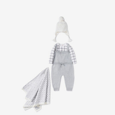 Brand New With Tags Seed Heritage Baby 000 Knit Overall Grey One Piece Jumpsuit