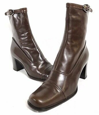 100% Authentic Gianni Versace Brown Italian Leather Women's Boots - Size 10 (40)