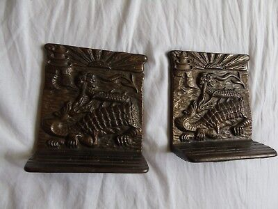 Pair Of Arts And Crafts Bronze Dragon Bookends Relief Art Signed Sun Rise