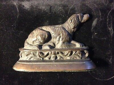 Antique Victorian Brass Dog Door Stop, Book End Spaniel Retriever Setter