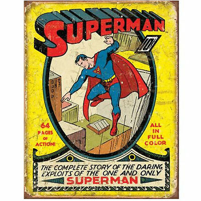 Officially Licensed Retro Vtg SUPERMAN First Cover Metal Sign, 1939 Golden Age