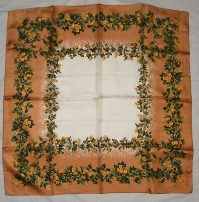 """Silk Scarf 26"""" Vintage Liberty of London Beige Green Gold Floral Print"""