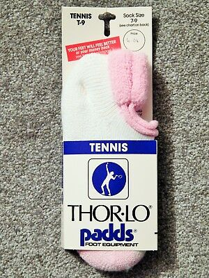 Vtg Nos Thorlo Tennis Padds Ladies Socks Sz 7 - 9, New With Display Card Intact!