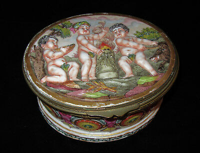 Capodimonte(?) Porcelain Box Cherubs in Raised Relief Blue 5 Point Crown Over N
