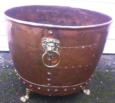 Victorian Copper Jardiniere Riveted Planter Pot with Lion Head,Rings,3 Paw Feet